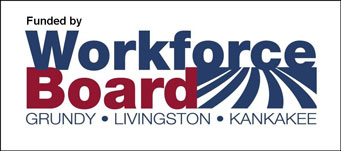 Workforce Board Logo. Grundy, Livingston and Kankakee