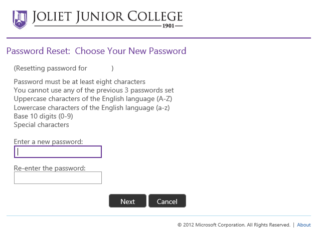 screenshot of password entry boxes