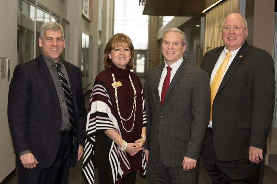 From the left: Joliet Mayor Bob O'Dekirk, Joliet Junior College President Judy Mitchell, Lewis University President David Livingston, University of St. Francis President Arvid Johnson