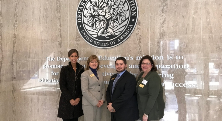 JJC Executive Director of Communications and Marketing Kelly Rohder-Tonelli, President Dr. Judy Mitchell, Board of Trustees Vice Chairwoman Maureen Broderick, and Student Trustee Sante Deserio at the U.S. Education Department in Washington, D.C.