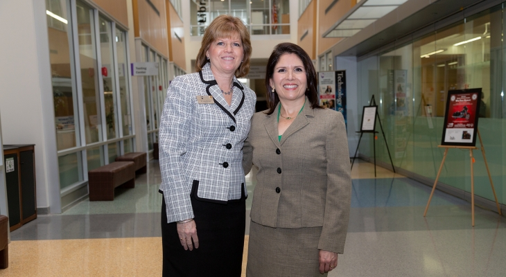 From Left: JJC President Dr. Judy Mitchell and Illinois Lt. Governor Evelyn Sanguinetti