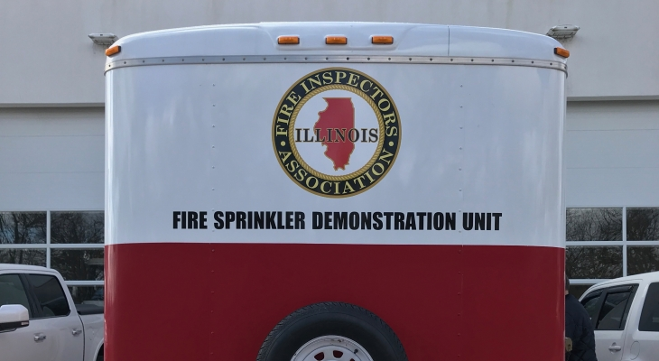 The Northern Illinois Fire Sprinkler Advisory Board has loaned JJC Fire Science students it's sprinkler trailer.