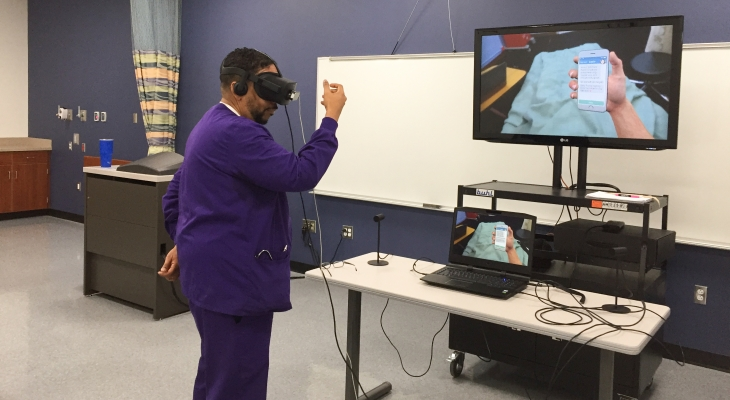 nursing student using VR