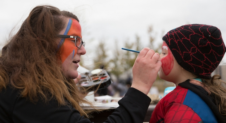 adult face painting child